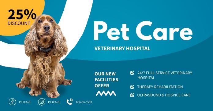 Pet care ads design templete Gambar Bersama Facebook template