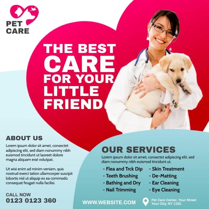 Pet Care Center Ad โพสต์บน Instagram template
