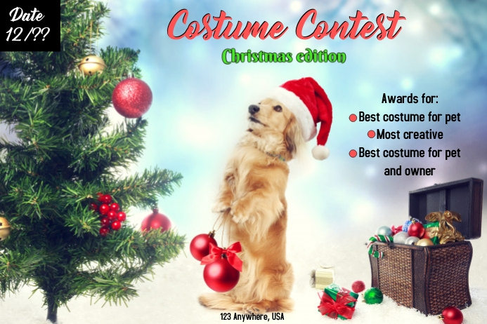 pet costume contest Etiqueta template