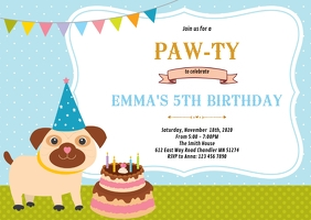 Pet dog birthday party invitation A6 template
