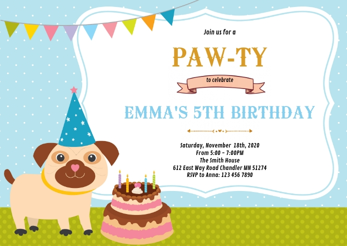 Pet dog birthday party invitation