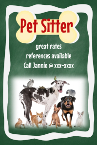 Pet Dog Sitter Walker Poster Flyer Announcement chalkboard