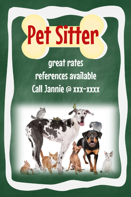 pet dog sitter walker poster flyer announcement chalkboard