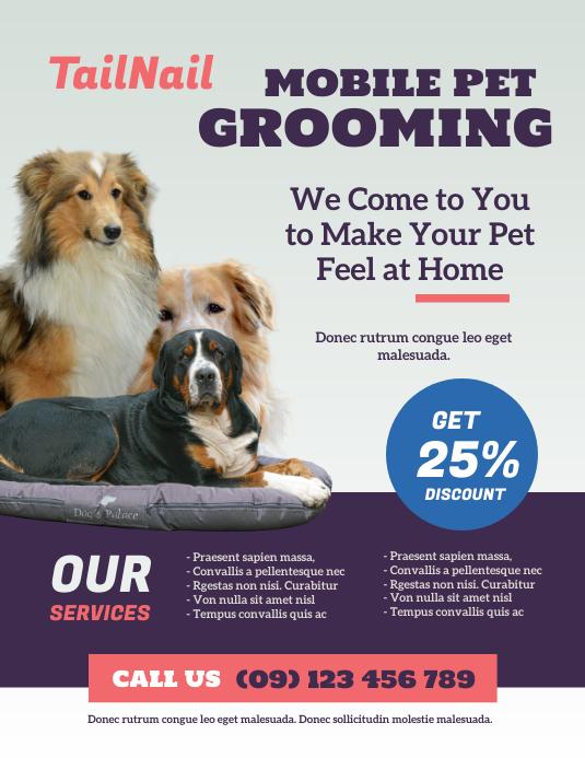 Pet Grooming Flyer 传单(美国信函) template