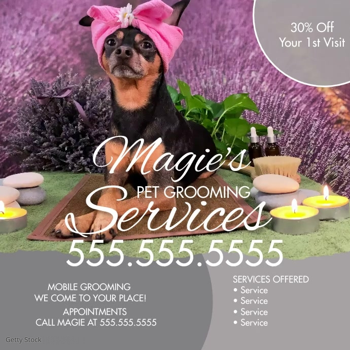 Pet Grooming Service Mobile Flyer Ad Instagram Post template
