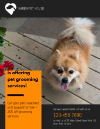 Pet Grooming Services Flyer Løbeseddel (US Letter) template