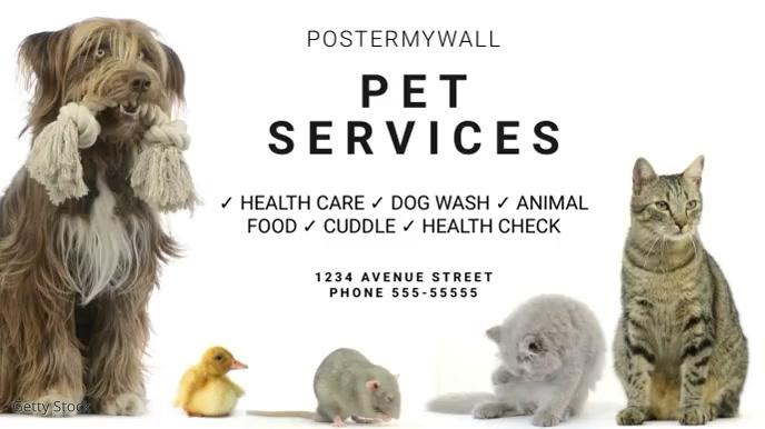 Pet service business digital video ad banner 数字显示屏 (16:9) template