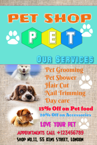 Pet shop, love, grooming poster flyer