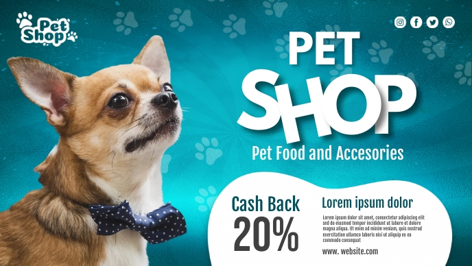 Pet Shop Banner Facebook Cover Video (16:9) template
