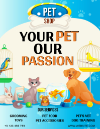PET SHOP STORE FLYER AD Template Volante (Carta US)