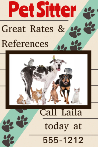 Pet Sitter Cat Dog Walker Adoption event veterinarian poster