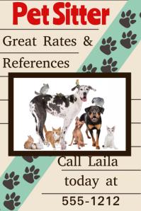 Pet Sitter Cat Dog Walker Adoption event veterinarian poster