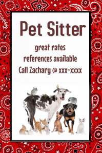 Pet Sitter Dog Walker Poster Flyer announcement Red Black template
