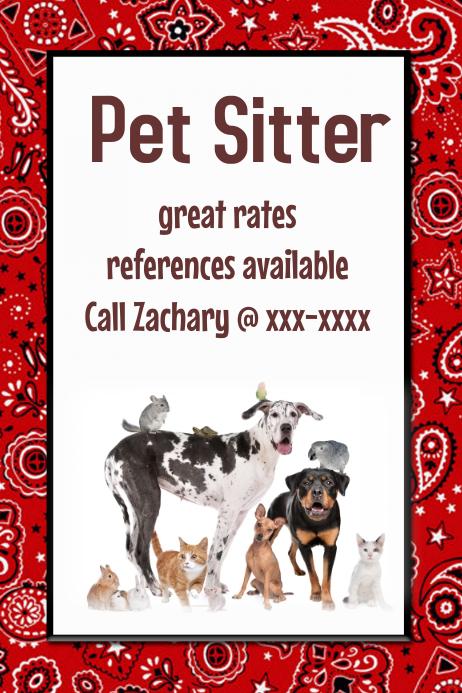 Pet Sitter Dog Walker Poster Flyer announcement Red Black