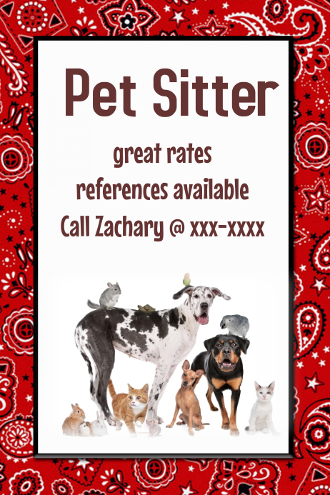 Pet Sitter Dog Walker Poster Flyer announcement Red Black template