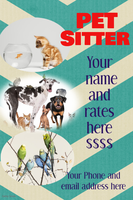 Pet Sitter Dog Walker Chevron Poster Flyer Invitation Party