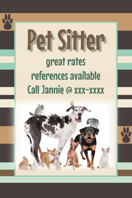 pet sitter dog walker pet adoption dog groomer event flyer template