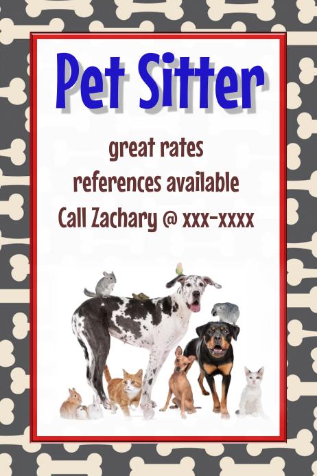 Pet Sitter Dog Walker Vet Pet Adoption Event Flyer poster