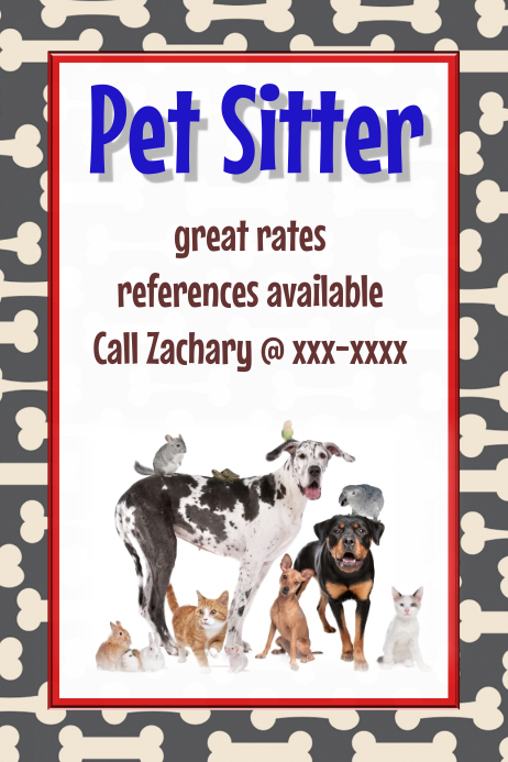 Pet Sitter Dog Walker Vet Pet Adoption Event Flyer poster