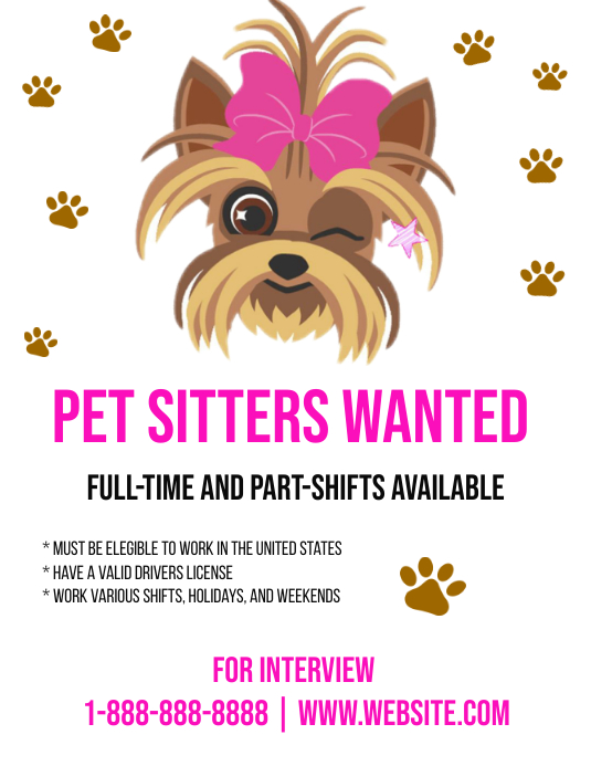Pet Sitter Employment Opportunity Template | PosterMyWall