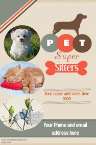 Pets flyer templates postermywall pet sitter flyer announcement poster saigontimesfo
