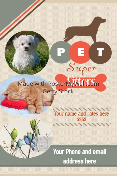 pet sitter flyer announcement poster template postermywall