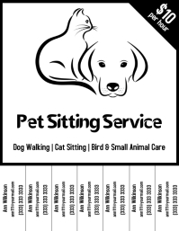 Pet Sitting Service flyer black and white
