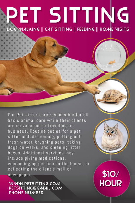 Pet Sitting Service Flyer Template