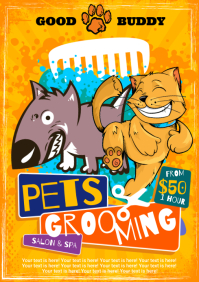 PETS GROOMING POSTER A4 template
