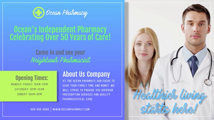 Pharmacy Advertisement Facebook Cover Video Facebook-omslagvideo (16:9) template