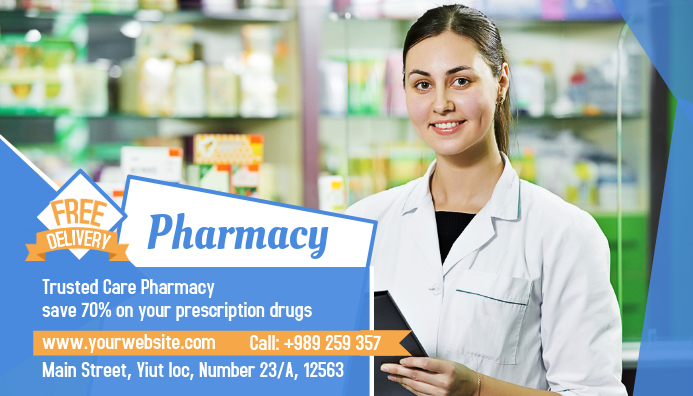 Pharmacy Card Business Visitkort template
