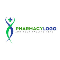 pharmacy icon logo green and blue colors temp Logotipo template