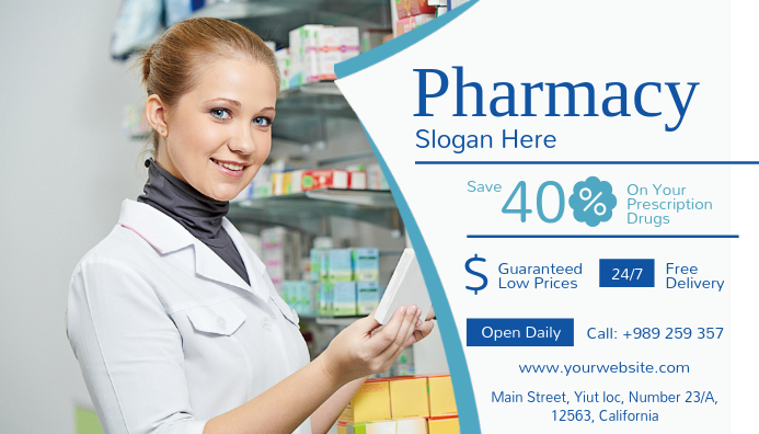 Pharmacy Landscape Business Card Visitkort template