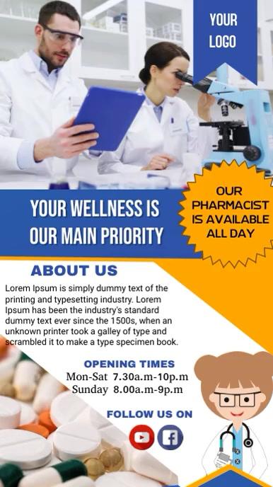 Pharmacy Poster Tampilan Digital (9:16) template