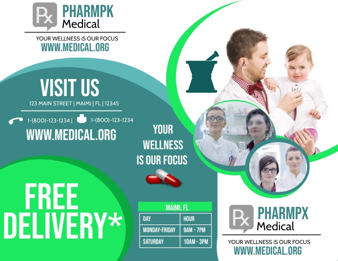 Pharmacy Tri-Fold Folheto (US Letter) template