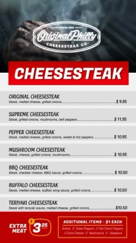 Philly Cheesesteak Digital Display Menu template