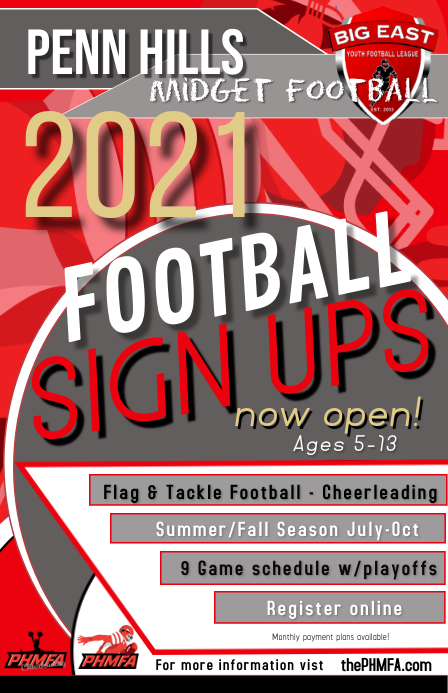 PHMFA 2021 summer season signups Tabloid template