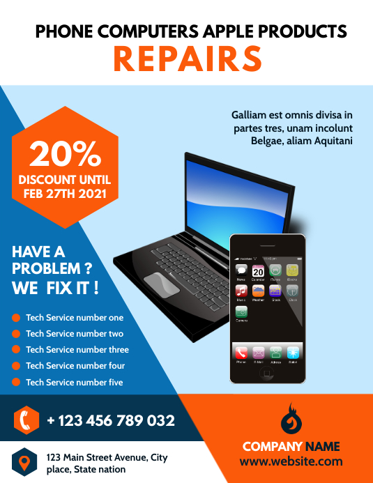phone and computer repairs flyer advertisemen Folder (US Letter) template