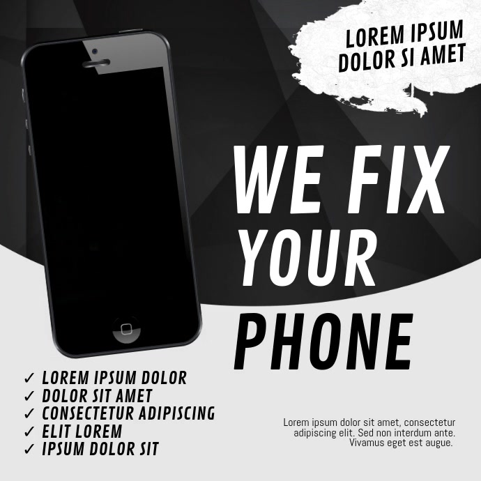 Phone repair fix flyer template Quadrado (1:1)