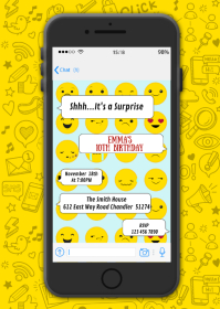 Phone texting birthday party invitation