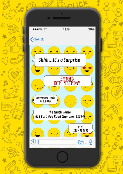 Phone texting birthday party invitation