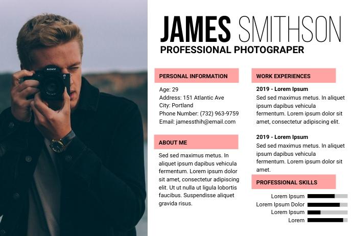 Photographer CV Template Étiquette