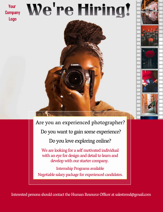 Photographer Vacancy Ad Flyer (US-Letter) template
