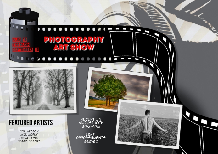 Photography Art Exhibit postcard Template Открытка