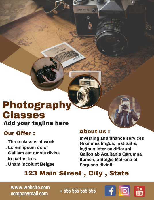 Photography classes flyer advertisement