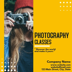 Photography classes flyer template Instagram Post
