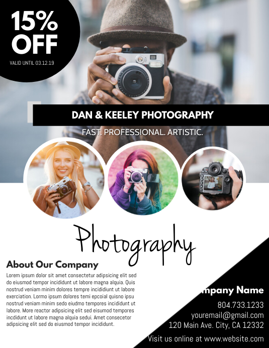 Photography Løbeseddel (US Letter) template