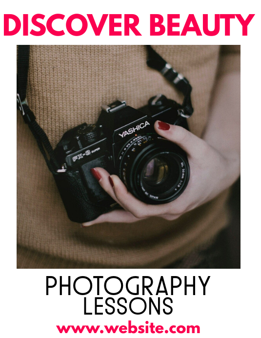 Photography lessons flyer template