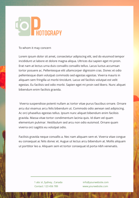 PHOTOGRAPHY letter head template