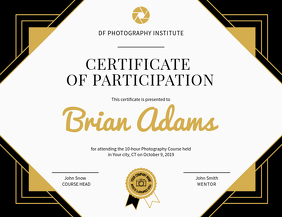 Photography Participation Certificate Landscape Flyer (US Letter) template